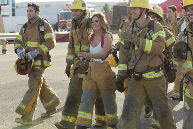JoJo Bachelorette and the bachelors dress like firefighters.