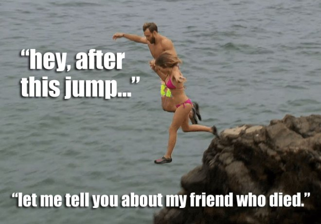 Robby and JoJo go cliff diving on the Bachelorette.