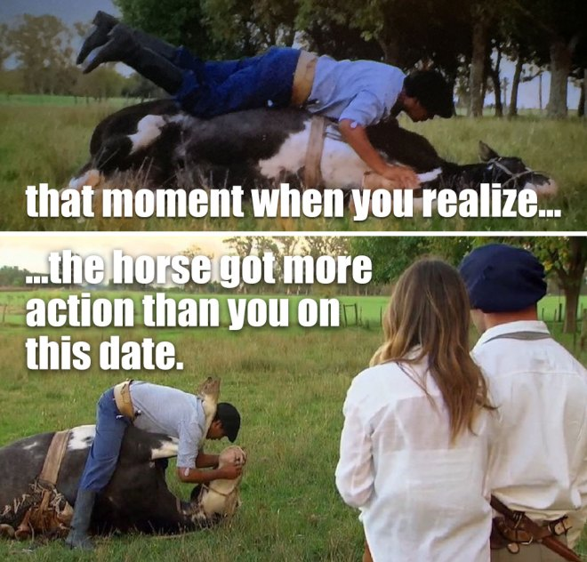Alex and JoJo watch the gaucho tame a horse on the bachelorette.