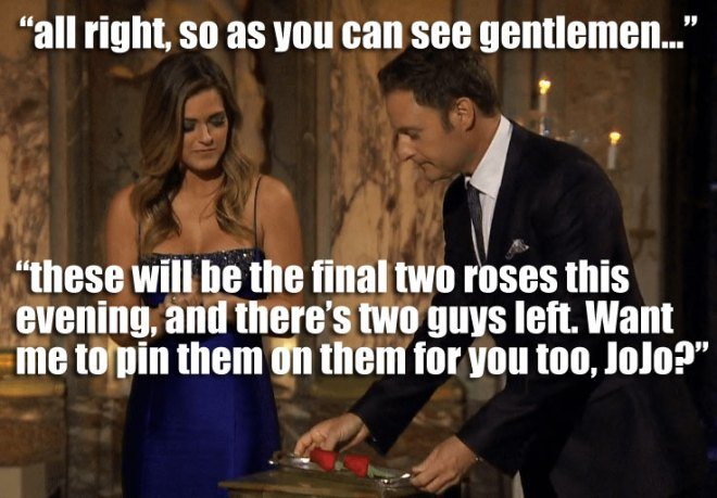 chris Harrison gives JoJo two roses to hand out to James and Alex in Argentina on the Bachelorette.