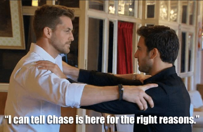 Derek and Chase dance the tango together during their date with JoJo on the Bachelorette.
