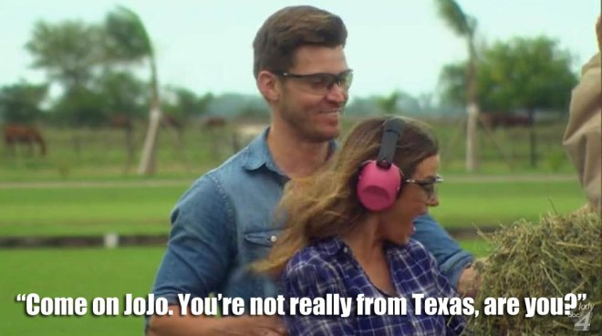JoJo and Luke go clay pigeon shooting on the Bachelorette.