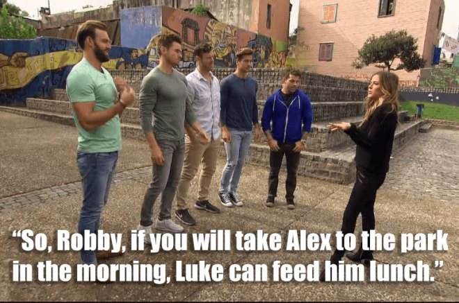 Robby, Luke, James, Jordan and Alex go on a soccer group date with JoJo in Argentina on the Bachelorette.