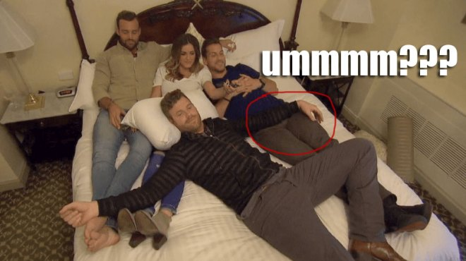 Robby, Chase, James and JoJo cuddle on the bed for the Bachelorette.
