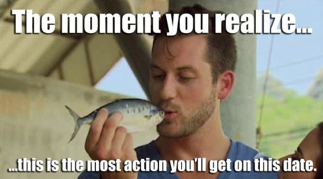 Chase kisses a fish with JoJo on the Bachelorette.