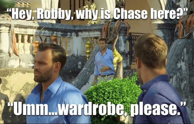 Chase shows up at the rose ceremony in Thailand on the Bachelorette.