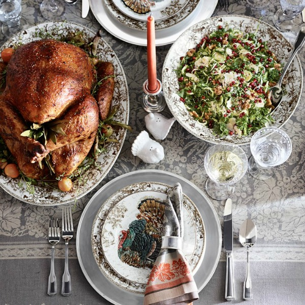 Thanksgiving feast with turkey and beautiful Plymouth turkey dinnerware and serving pieces from Williams Sonoma. #thanksgiving #tablescape #turkeydinner #dinnerware