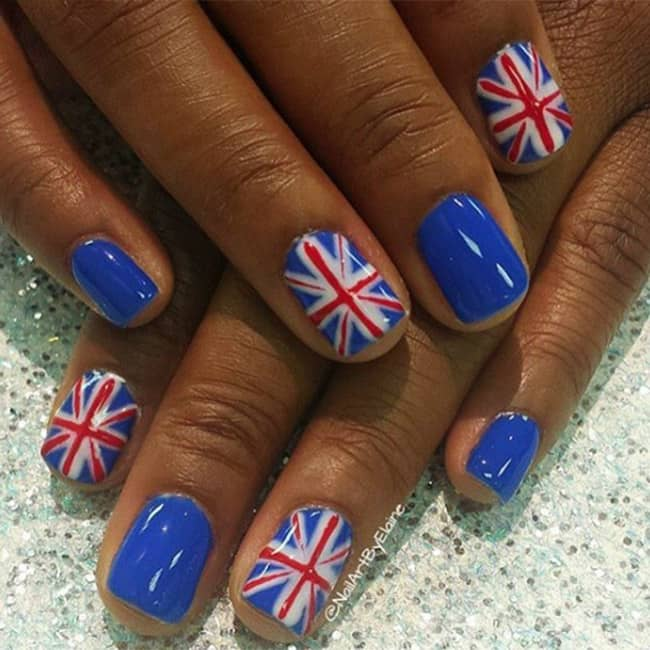 Take Note From Masonpowell7 19 14 And Opt For Blue Nail Polish With A Statement Union Jack Instant Glamour