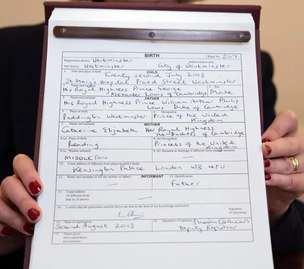 How Prince Louis' birth certificate differed to Prince George and ...