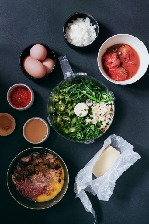 Braised Green Chorizo Meatballs + Eggs in a Harissa Tomato Sauce | Hello My Dumpling
