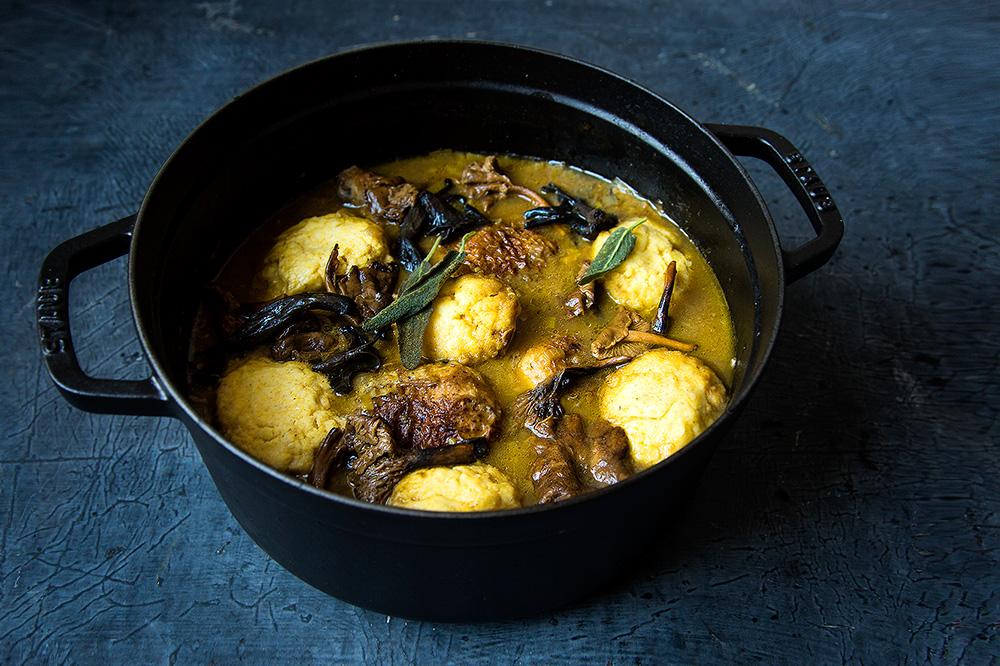 Braised Chicken and Polenta Dumplings w/Mushrooms | Hello My Dumpling