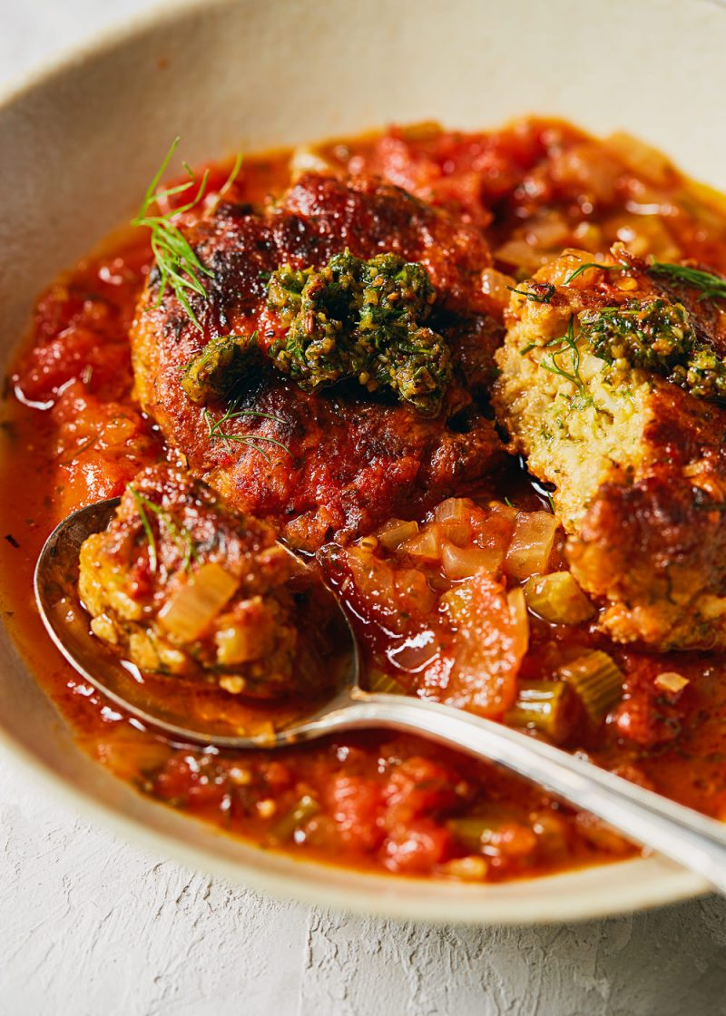 North African Fish Cakes in a Chermoula Tomato Sauce | NY Based Photographer Jenny Huang