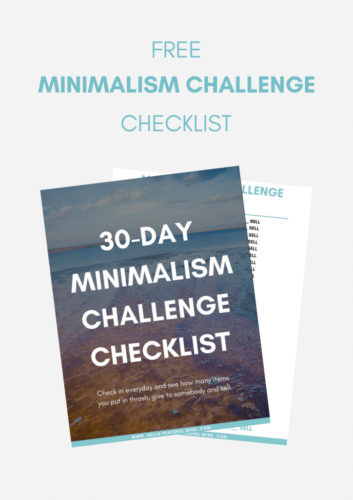 Get a free checklist to do the minimalism challenger