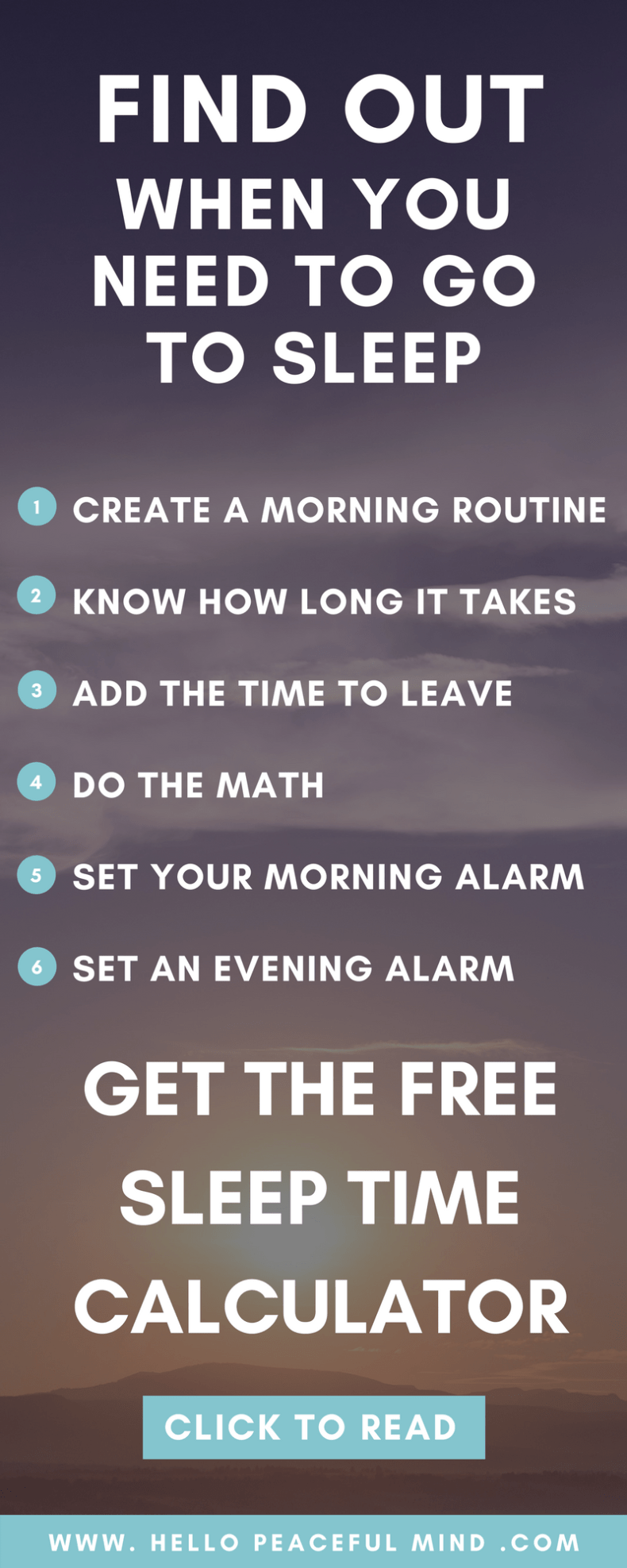 Easily find out when to sleep with the FREE calculator to create your morning routine, know how long it takes, when to wake up and to go to bed!