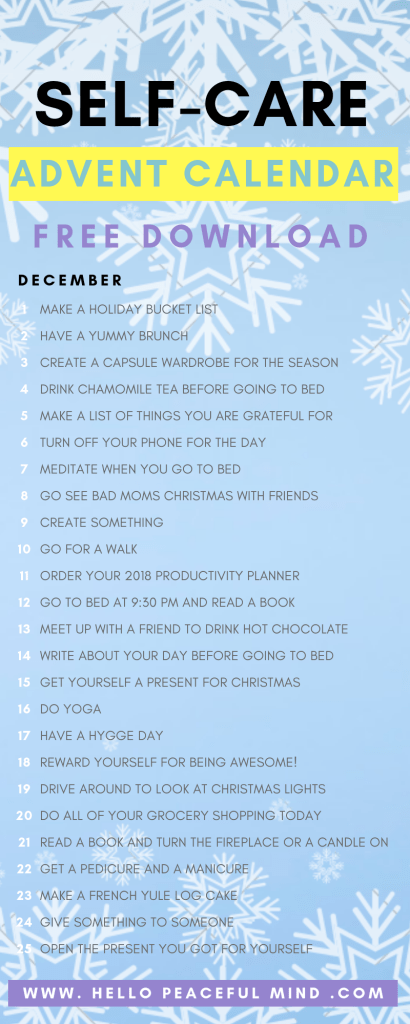 Download the FREE self-care #adventcalendar to help you relax during the #holidays. #selfcare