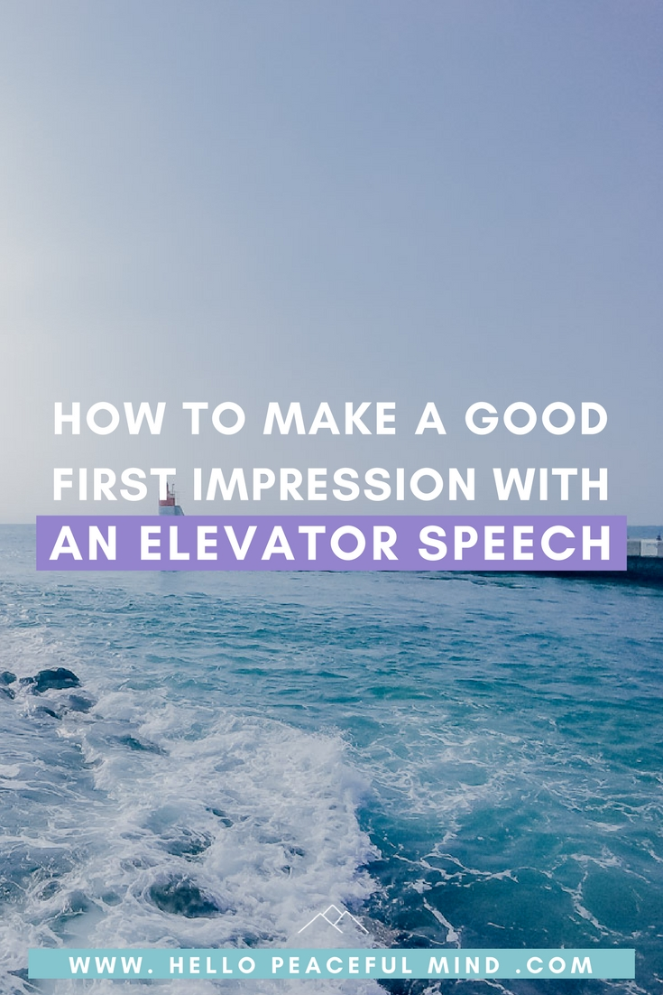 Find out why and how to create an elevator speech on www.HelloPeacefulMind.com and download the FREE workbook to create your own.