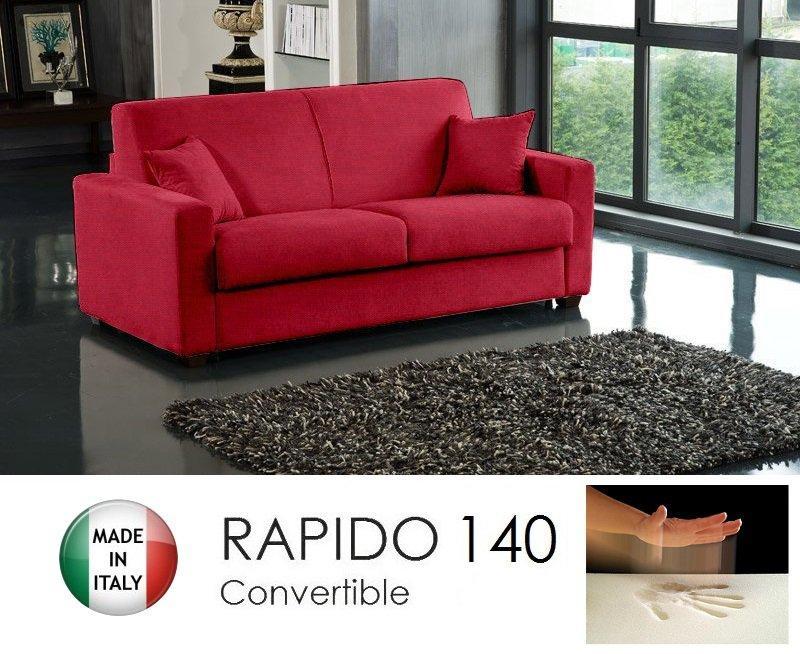 canape convertible rapido 140cm dreamer tissu tweed cross rouge matelas 140 14 190 cm a memoire de forme