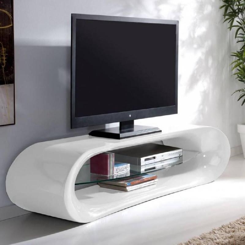 meuble tv design kaina en fibre de verre blanc brillant et une etagere en verre trempe