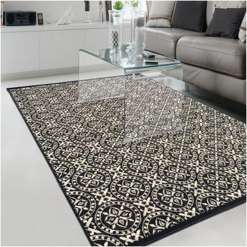 un amour de tapis tapis moderne pour salon design geometrique poils ras grand tapis salon noir 160x225 cm unamourdetapis