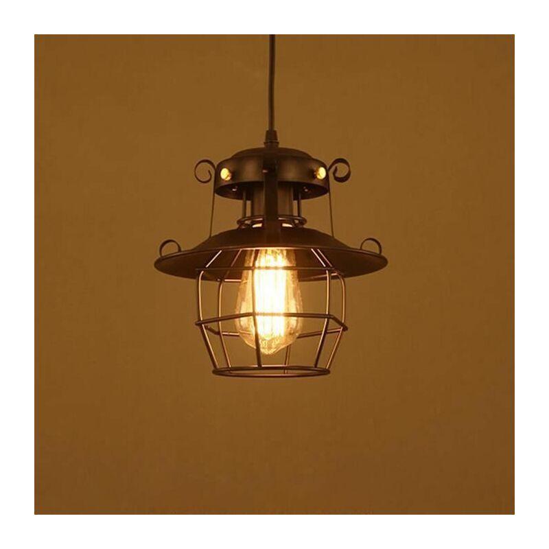 suspension luminaire industrielle lustre plafonnier vintage retro e27 23cm abat jour en metal cage pour cuisine salle a manger salon