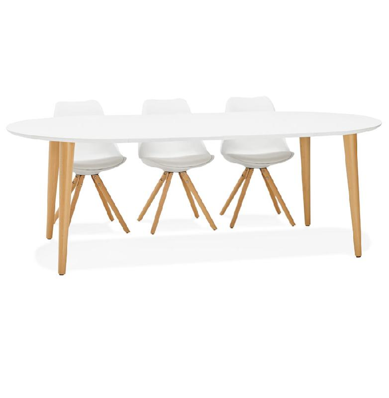 table a diner ronde extensible iglou style scandinave 120 220 x120 cm