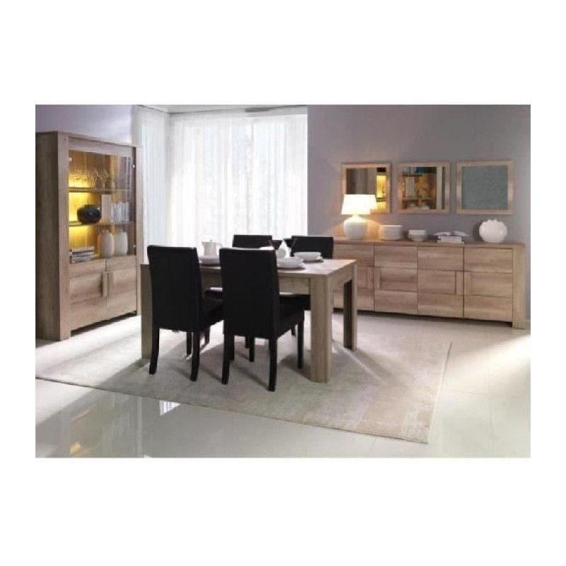 salle a manger complete farra buffet vitrine vaisselier miroirs x3 table en 160 cm mobilier contemporain et design marron price factory