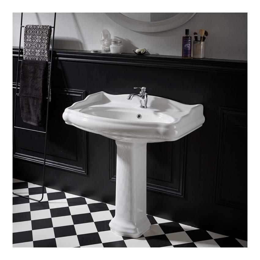 lavabo colonne retro 80 cm en ceramique blanc