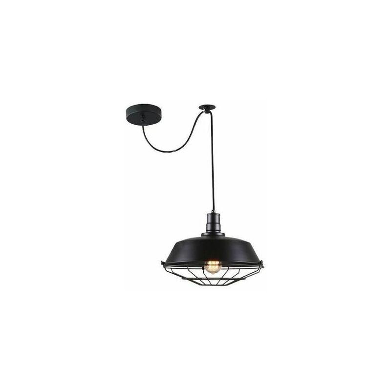 suspension retro vintage lustre plafonnier exbon lampe luminaire industriel noir no ampoule inclus