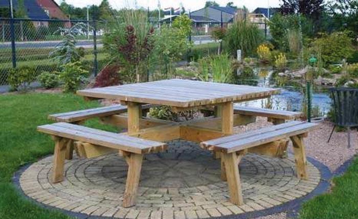 table pique nique en bois carree sans dossier 8 places