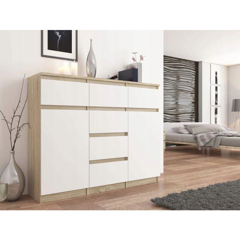 hucoco monaco commode contemporaine meuble rangement chambre salon bureau 120x40x98 cm 6 tiroirs coulissants buffet sejour sonoma blanc