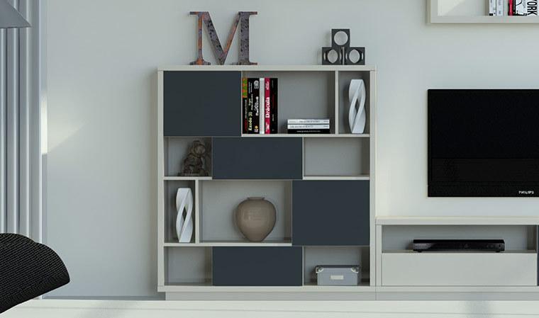 meuble bibliotheque design graphite vison 4 niveaux barreiro