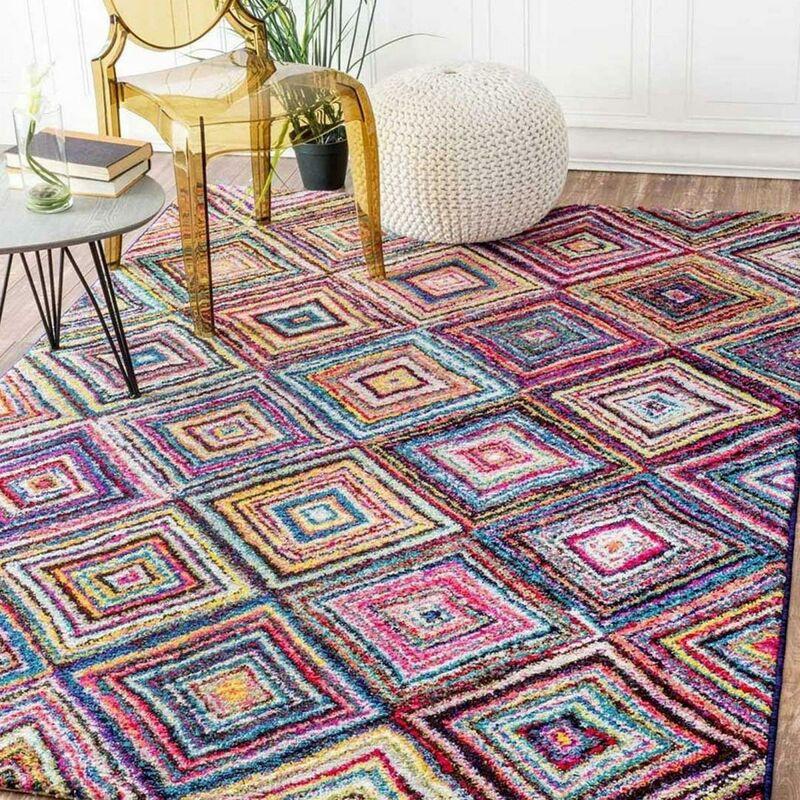 un amour de tapis tapis salon moderne design poils ras petit tapis salon turquoise rectangulaire tapis multicolore rouge bleu gris noir violet