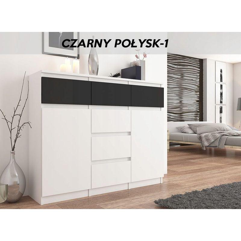 monaco w1 commode contemporaine meuble mobilier rangement chambre salon 120x40x98 cm 6 tiroirs 2 portes buffet sejour blanc noir gloss