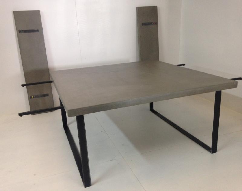 table a manger beton cire carre avec