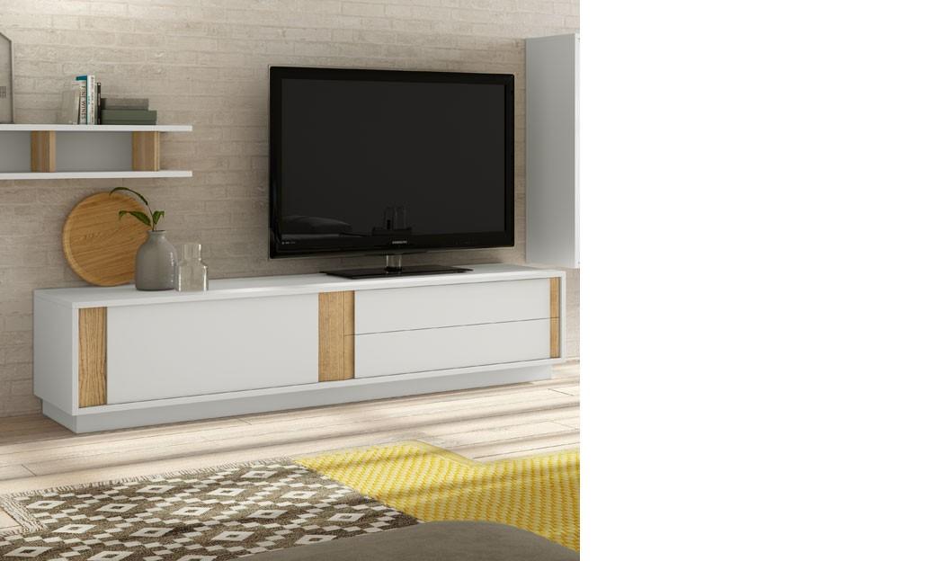 meuble tele design blanc laque mat et couleur bois clair alden