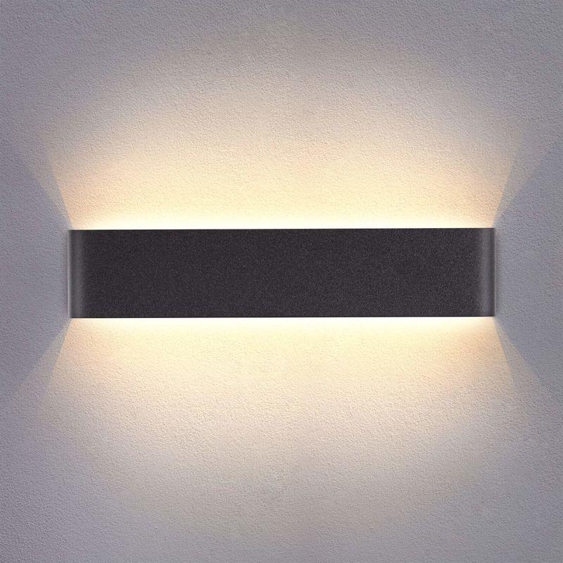 applique murale interieur led noir 14w 3000k lampe murale blanc chaud moderne design ac 220v pour chambre salon escalier couloir acrylique 40cm