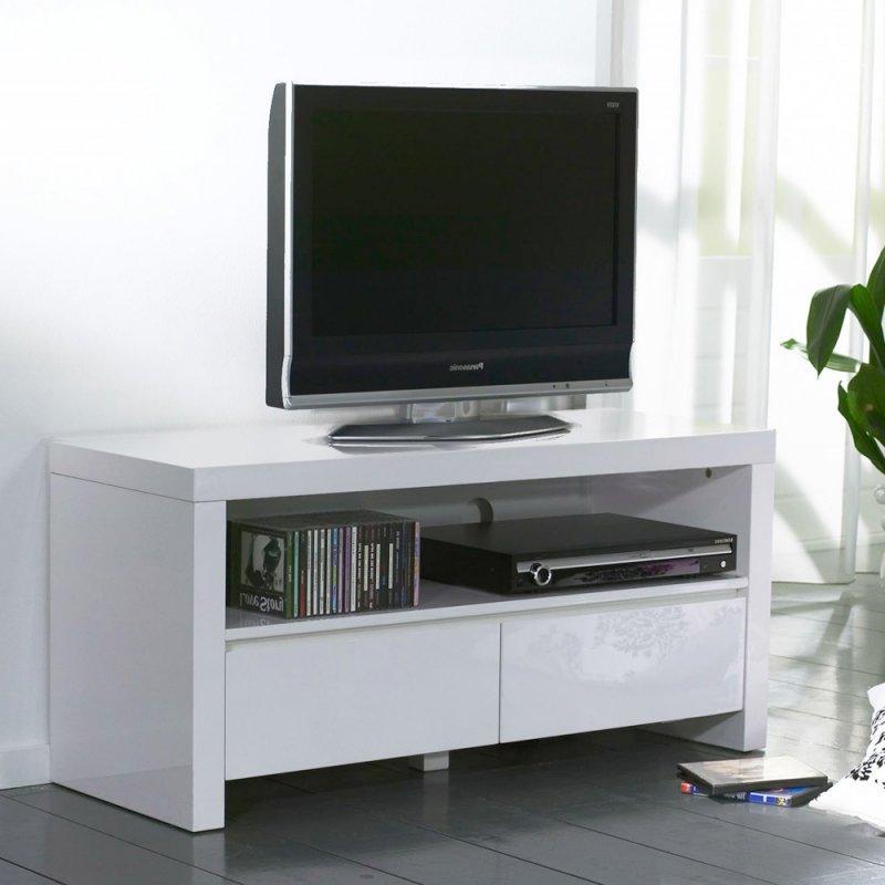 white meuble tv avec 2 tiroirs laque