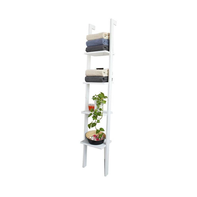 bibliotheque etagere murale style echelle etagere echelle 4 niveaux blanc sobuy frg15 w