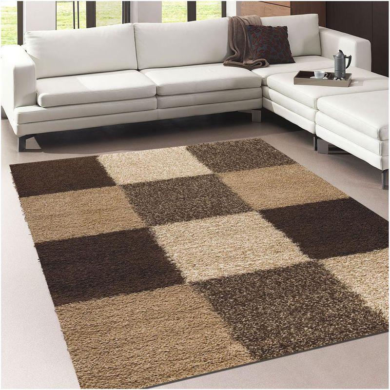 tapis shaggy poils long 160x230 cm rectangulaire norlaz beige salon adapte au chauffage par le sol