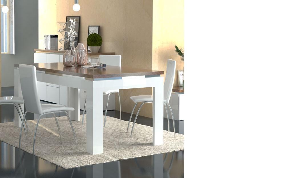 table a manger blanc laque et couleur bois moderne botino 2