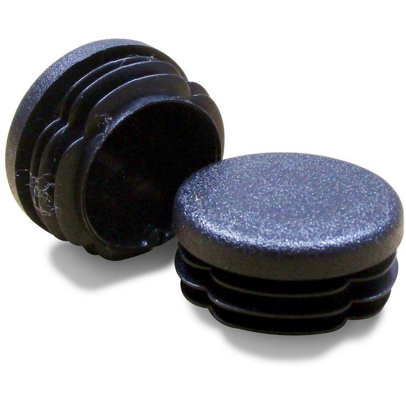 embout insert protection a ailettes entrant patin pied de chaise meuble mobilier tubulaire rond en plastique noir pour tube diametre exterieur 40 mm