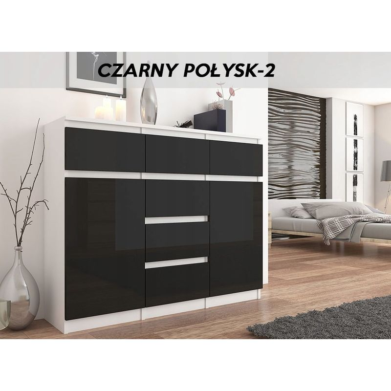 monaco w2 commode design contemporaine meuble rangement chambre salon 120x40x98 dressing 6 tiroirs niches buffet sejour blanc noir gloss