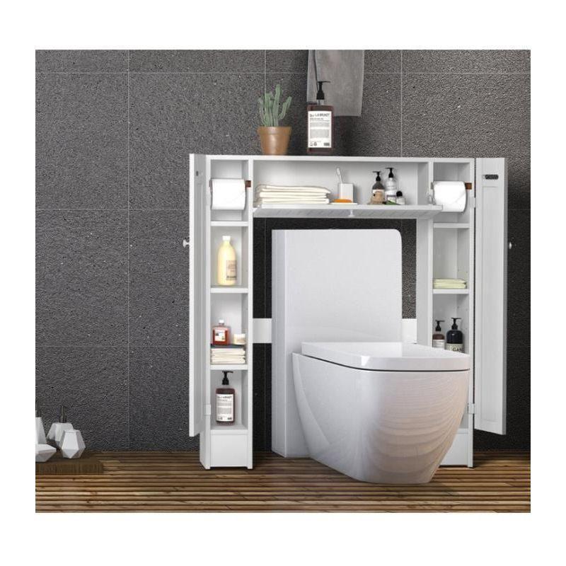 meuble wc armoire de toilette placard de salle de bains etagere de salle de bain costway