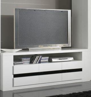 meuble tv design laque blanc et noir adriana