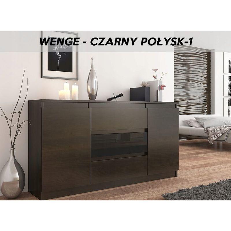 albi 1w commode style contemporaine 140x40x76 meuble de rangement buffet chambre salon 3 tiroirs 2 portes gloss wenge noir gloss