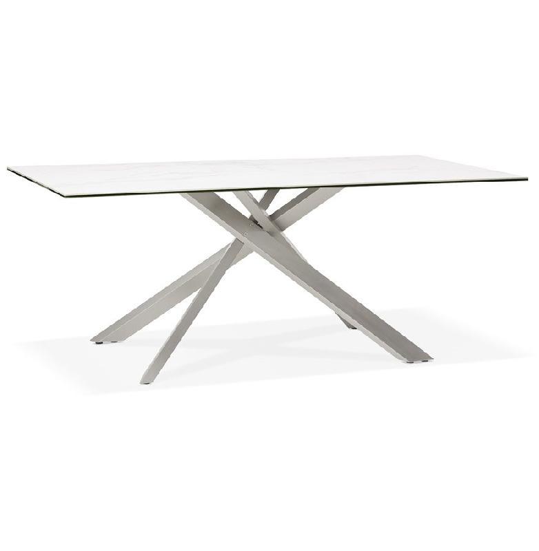 table a diner markina en ceramique blanche avec pied central en metal 180x90 cm