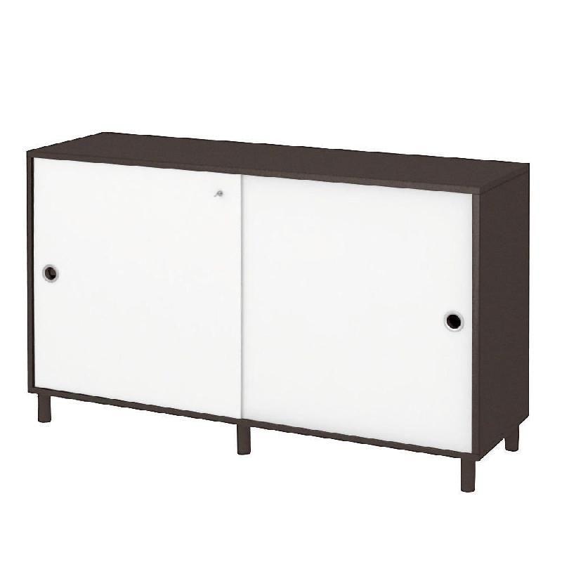 meuble bas portes coulissantes ondulo blanc