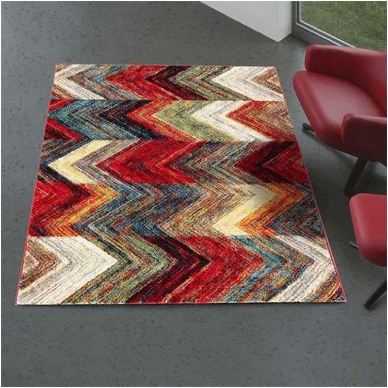 tapis design et moderne 80x150 cm rectangulaire colors multicolore chambre adapte au chauffage par le sol