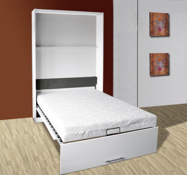 armoire lit escamotable vertigo small couchage 90cm blanc ceruse
