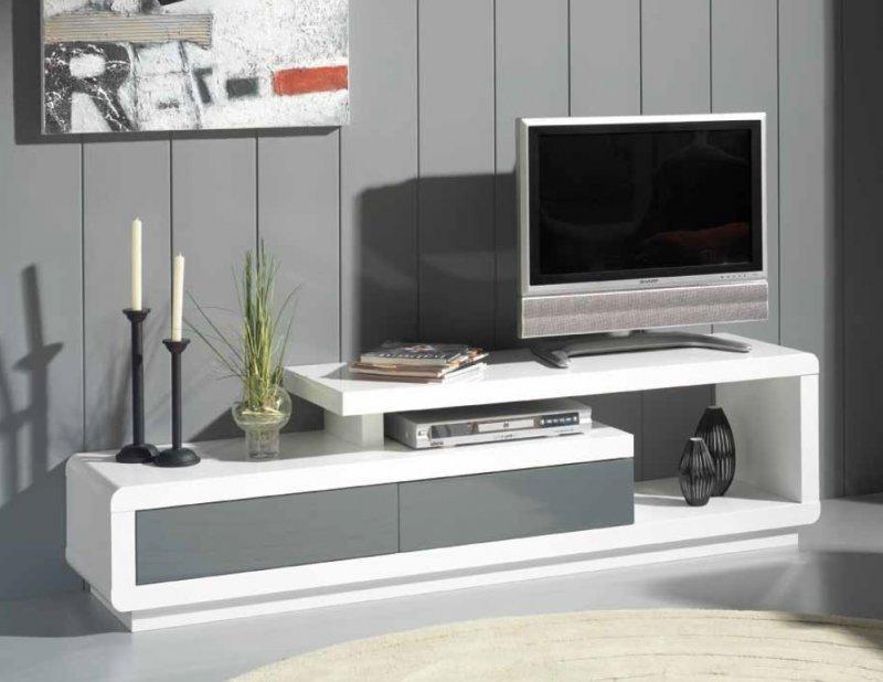 meuble tv seville blanc 2 tiroirs gris